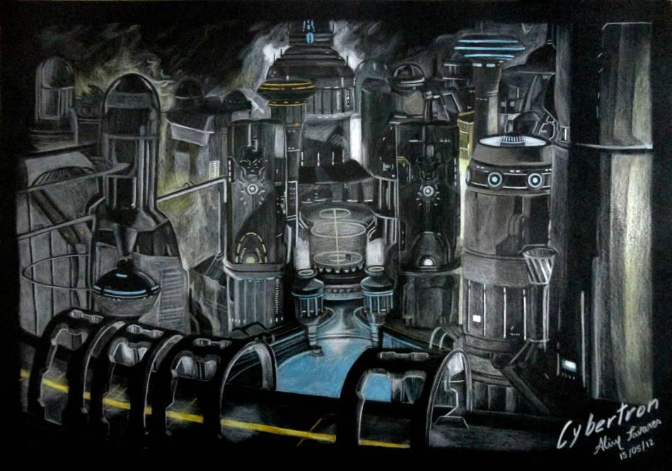Cybertron. Optimus Prime também está no desenho. Desenho feito no papel preto tamanho A3 com lápis de cor.